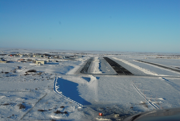 On final for runway 01 at PABE
